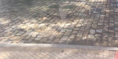 Tramo de calle pavimentada con adoquín de Gerena