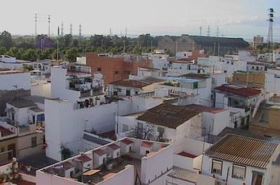 Vista aérea de la barriada de la Bachillera, en el distrito Norte de la ciudad