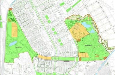 plano de las tres zonas verdes sobre las que se actuará  conectadas entre sí