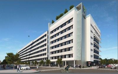 Infografía del edificio de la futura residencia estudiantil que se construirá junto al colegio Portaceli, en Nervión