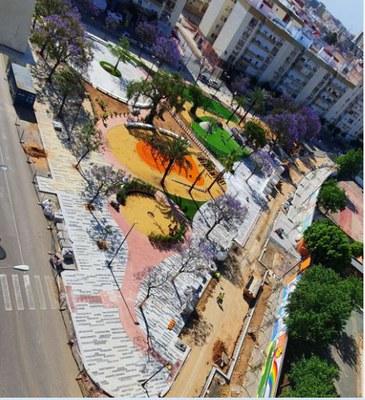 Vista aérea de la Plaza del Olivo en el momento actual, en la recta final de los trabajos