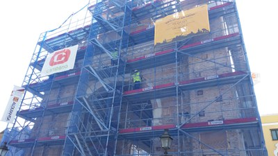 Trabajos de restauración actuales sobre el Arco de la Macarena