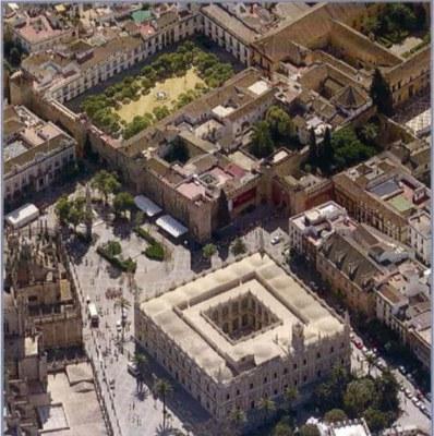 Vista aérea del Patio de Banderas, donde se localiza la vivienda que será intervenida