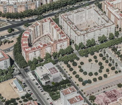 Vista aérea de la zona donde está prevista la construcción del nuevo centro cívico, con una recreación del mismo junto al espacio ajardinado central