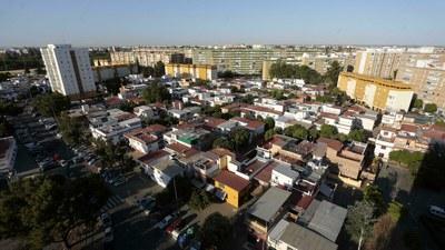 Vista aérea general de la barriada Juan XXIII, de Sevilla