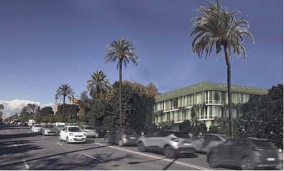 Montaje fotográfico que recrea la nueva residencia universitaria en construcción en el número 17 de la Avda. de la Palmera